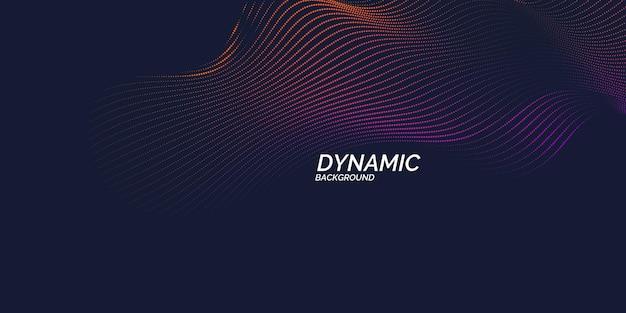 Вектор абстрактный фон с динамическими волнами, линией и частицами. иллюстрация подходит для дизайна
