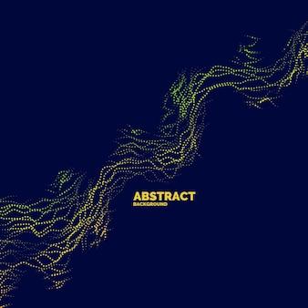 動的な波、線、粒子で抽象的な背景をベクトルします。デザインに適したイラスト