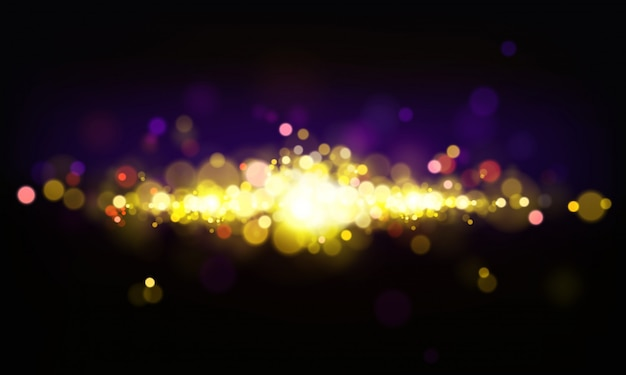 Vector abstract background with shining elements, bright lights, bokeh effect.