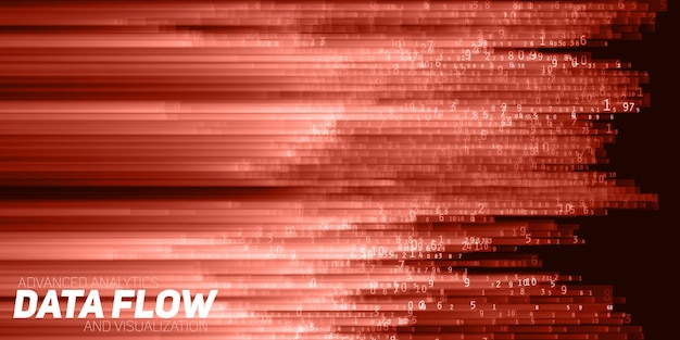 벡터 추상 빅 데이터 시각화. 숫자 문자열로 데이터의 빨간색 흐름. 정보 코드 표현. 암호화 분석. 비트 코인, 블록 체인 전송. 인코딩 된 데이터의 스트림.