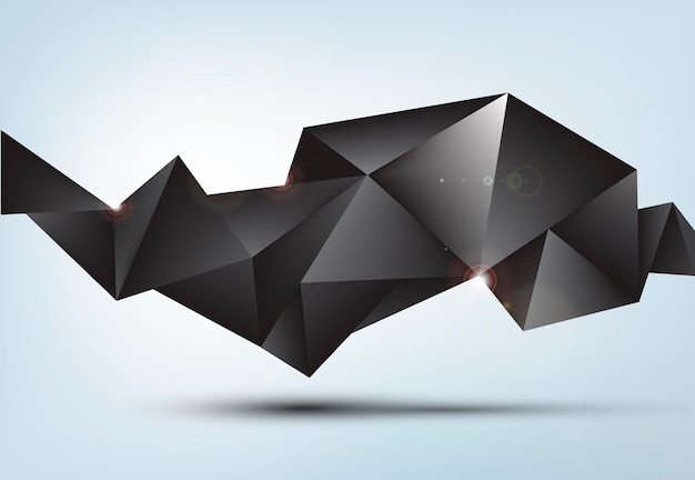 Vector abstract black shiny faceted crystal banner, 3d shape with triangles, geometric, modern template