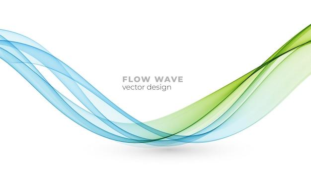 벡터 추상 파란색 녹색 화려한 연기 흐르는 웨이브 라인 흰색 배경에 고립. 기술, 과학, 건강한 현대 개념을 위한 투명한 디자인 요소입니다.