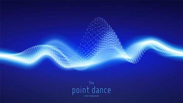 Vector abstract blue particle wave, points array, shallow depth of field