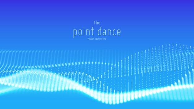 Onda astratta di particelle blu vettoriale, array di punti, profondità di campo ridotta