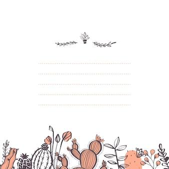 선인장, 가지, 꽃 요소 하단 프레임 및 텍스트 장소 흰색 배경에 고립 된 벡터 추상 카드 디자인 템플릿. 손으로 그린 스케치 스타일. 청첩장, 태그 등에 좋습니다.