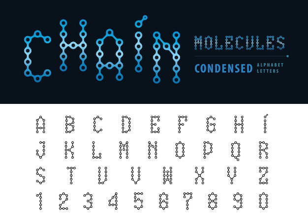 Vector of abstract chain alphabet letters and numbers, condensed fonts