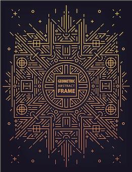 벡터 추상 중국 기하학적 프레임, 황금 배경, 고급 테두리.