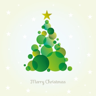 Vector abstract christmas tree card made from green circles.