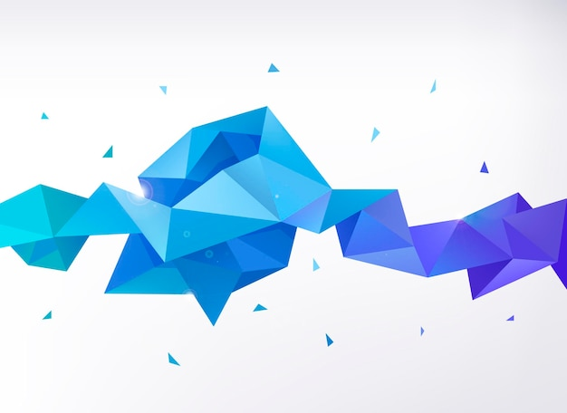 Vector abstract colorful blue faceted crystal banner, 3d shape with triangles, geometric, modern template