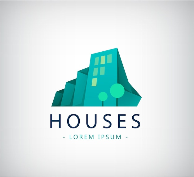 ベクトル抽象的なカラフルな都市、建物構成記号、アイコン、分離されたロゴ。緑の折り紙の木と3dの家