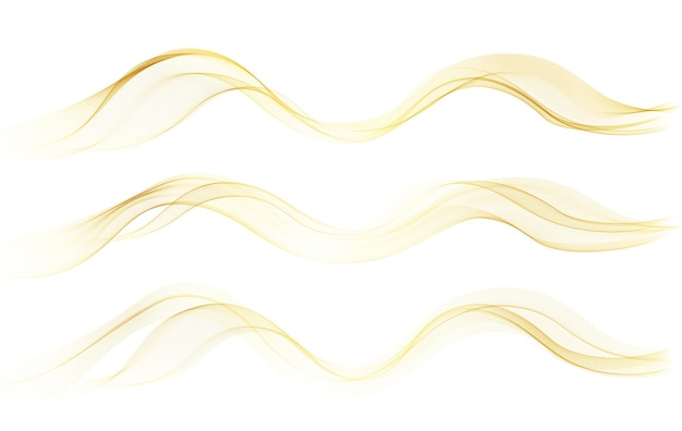 Vector abstract colorful flowing gold wave lines isolated on white background design element for wedding invitation greeting card