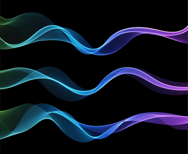 Vector abstract colorful flowing wave lines isolated on black background
