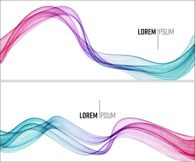白い背景のデザイン要素に分離されたベクトル抽象的なカラフルな流れる波線
