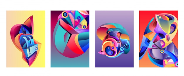 Vector abstract colorful geometric curvy pattern background set