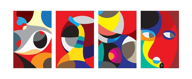 Vector abstract colorful geometric and curvy pattern background