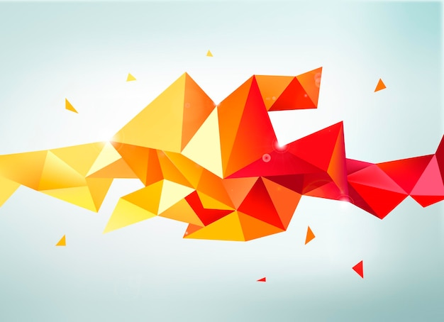 Vector abstract colorful orange, red, yellow faceted crystal banner, 3d shape with triangles, geometric, modern template