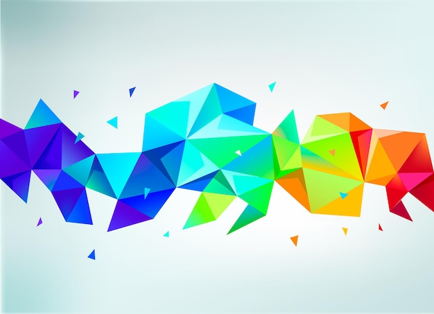 Vector abstract colorful rainbow faceted crystal banner, 3d shape with triangles, geometric, modern template