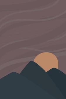 ベクトル抽象的な現代的な背景山と夜の風景夕日月