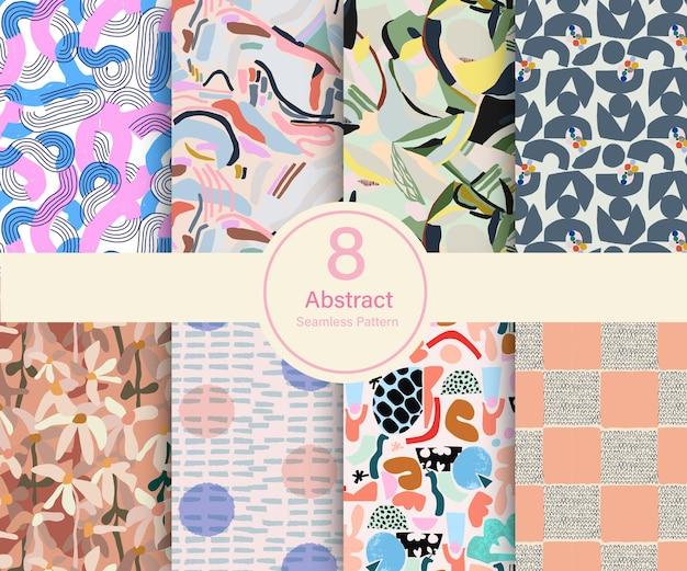 ベクトル抽象的な現代的な形のテーマイラスト8種類の繰り返しパターンコレクションセット