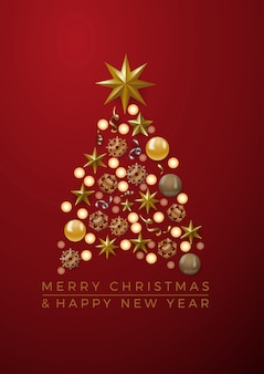Vector abstract cover golden christmas tree, with text on red background