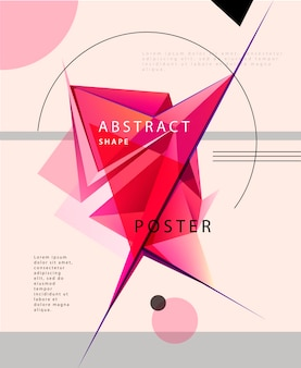 Vector abstract crystal shape posterm banner, brochure. futuristic background. artistic cover design, minimalistic creative concept, modern diagonal
