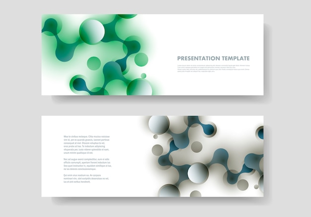 Vector abstract design banner template with connected molecular shapes