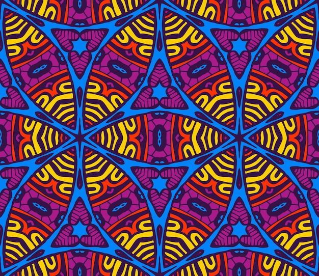 ベクトル抽象的な民族ヴィンテージシームレスパターン部族の背景