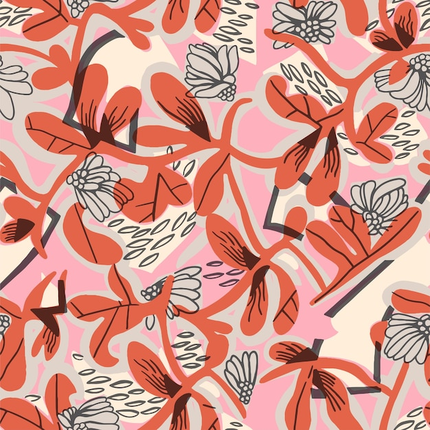 Vector abstract flower and leaf shape pen doodle illustration motif seamless repeat pattern digital
