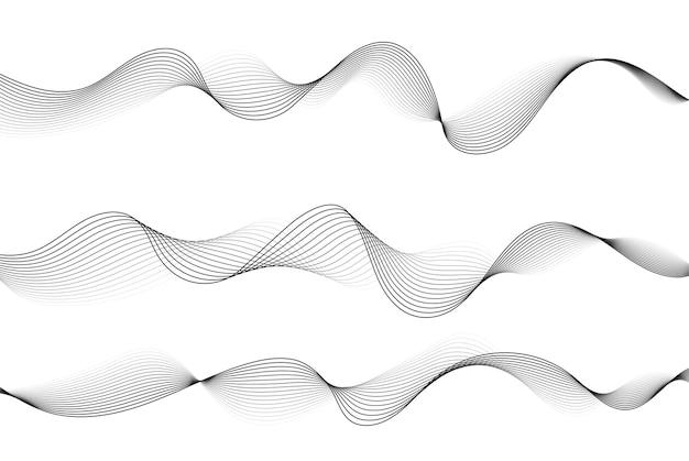 Вектор абстрактные плавные линии волны, изолированные на белом фоне элемент дизайна для современной концепции науки и техники