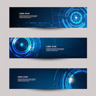 Vector abstract futuristic technology banner template.
