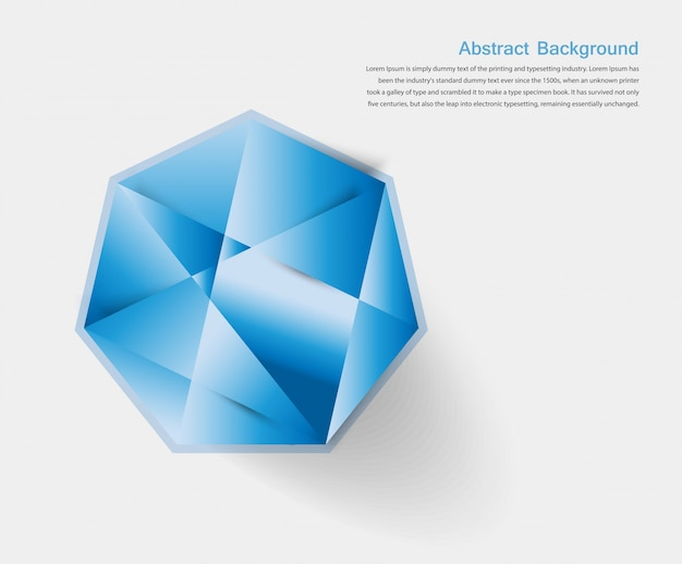 Vector abstract gem and blue ice
