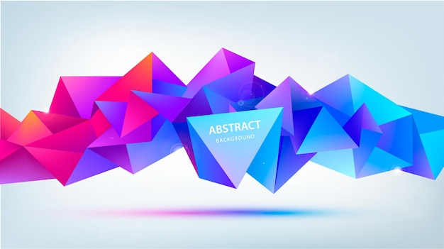 Vector abstract geometric 3d facet shape isolated. use for banners, web, brochure, ad, poster, etc. low poly modern style background. purple, blue red, horizontal orientation