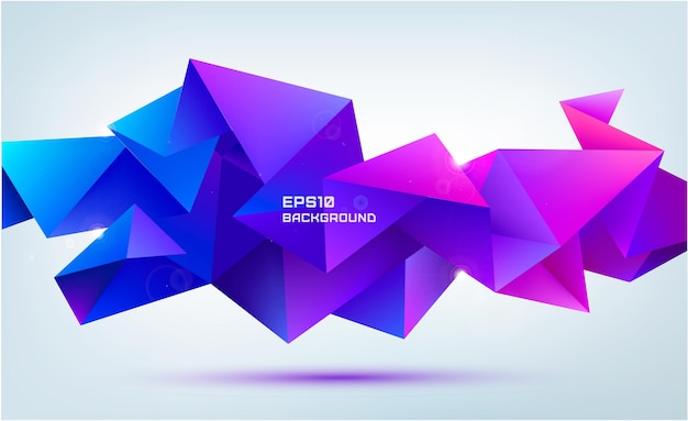 Vector abstract geometric 3d facet shape isolated. use for banners, web, brochure, ad, poster, etc. low poly modern style background. purple, pink