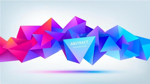 分離されたベクトル抽象的な幾何学的な3dファセット形状。バナー、ウェブ、パンフレット、広告、ポスターなどに使用します。低ポリのモダンなスタイルの背景。紫、青赤、水平方向