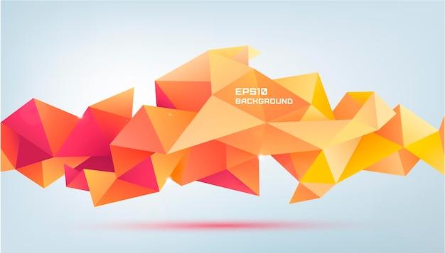 ベクトル抽象的な幾何学的な3dファセット形状。バナー、ウェブ、パンフレット、広告、ポスターなどに使用します。低ポリのモダンなスタイルの背景。赤とオレンジの折り紙バナー