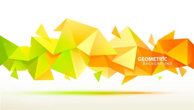 벡터 추상적인 기하학적 3d 면 모양입니다. 배너, 웹, 브로셔, 광고, 포스터 등에 사용합니다. 낮은 폴리 현대적인 스타일 배경입니다. 옐로우, 그린 오렌지