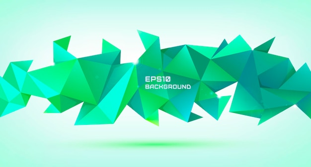Vector abstract geometric 3d shape. triangular facet polygonal banner, poster, background.
