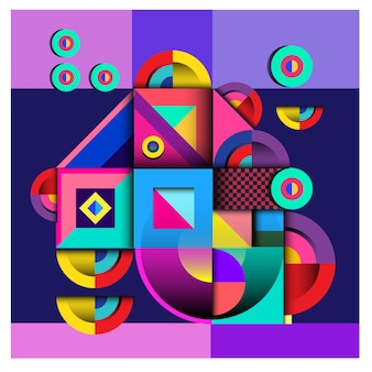 Vector abstract geometric and curvy colorful pattern design
