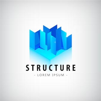 벡터 추상적인 기하학적 파란색 로고, 아이콘입니다. 건설, 건축, 건축 로고, 컨셉 로고 생성, 도시 로고