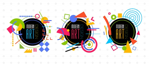 Vector abstract geometric dynamic pattern frame modern art design