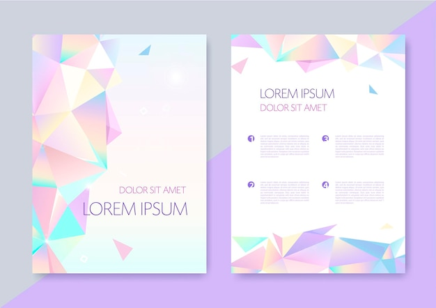 Vector abstract geometric graphic design covers. origami 3d shapes flyers, brochures, posters
