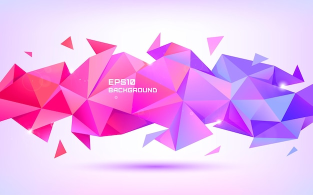Vector abstract geometric low poly 3d shape. origami facet style banner, background. purple and red triangles poster, horizontal orientation