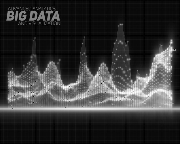 Vector abstract grayscale big data visualization. futuristic infographics aesthetic design. visual information complexity. intricate data threads graphic. social network or business analytics.