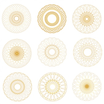 Vector abstract guilloche elements set