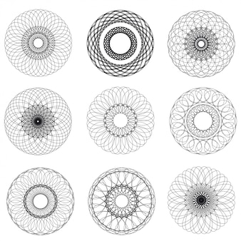 Vector abstract guilloche elements on white background