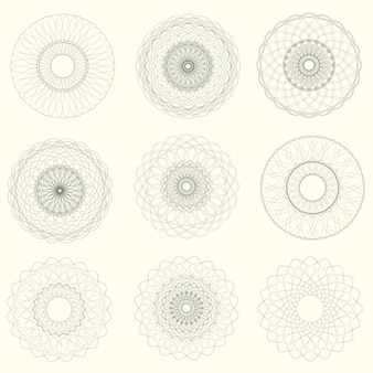 Vector abstract guilloche elements