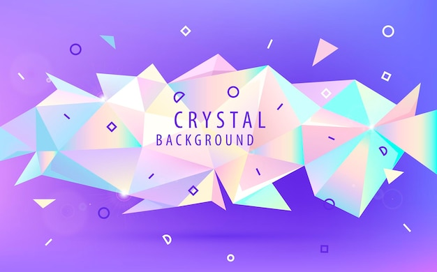 Vector abstract holographic 3d shape, facet triangle low poly banner, background. shiny trendy colors horizontal orientation template