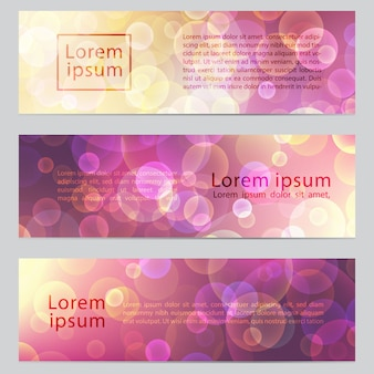 Vector abstract horizontal banners with bokeh effect.