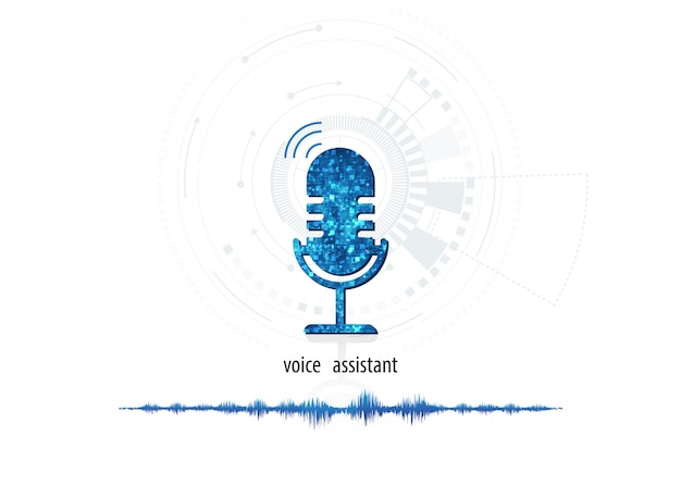 Vector abstract icon microphone on digital sound wave on white color background