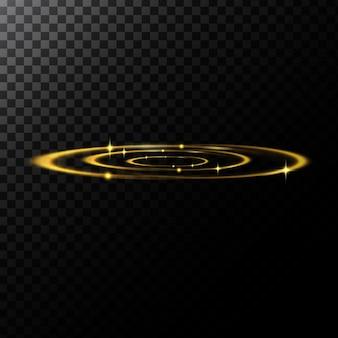 Векторные абстрактные иллюстрации световых эффектов в форме золотых кругов